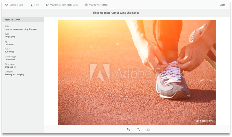 Preview Adobe Stock image and license from within AEM Assets