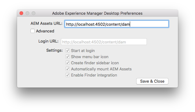Authenticate on Mac and provide AEM server URL