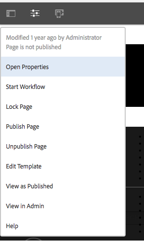 Drop down dialog menu for AEM authoring UI on site editor screen