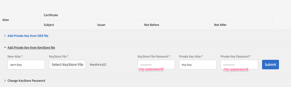 Setup public and private keys for use with AEM and Adobe I/O
