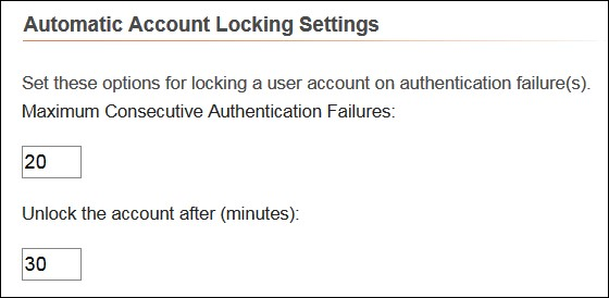 Automatic Account Locking Aettings