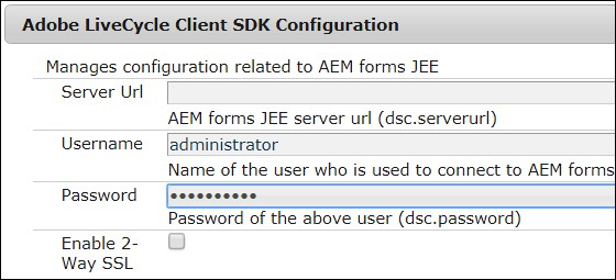 Adobe LiveCycle Client SDK Configuration