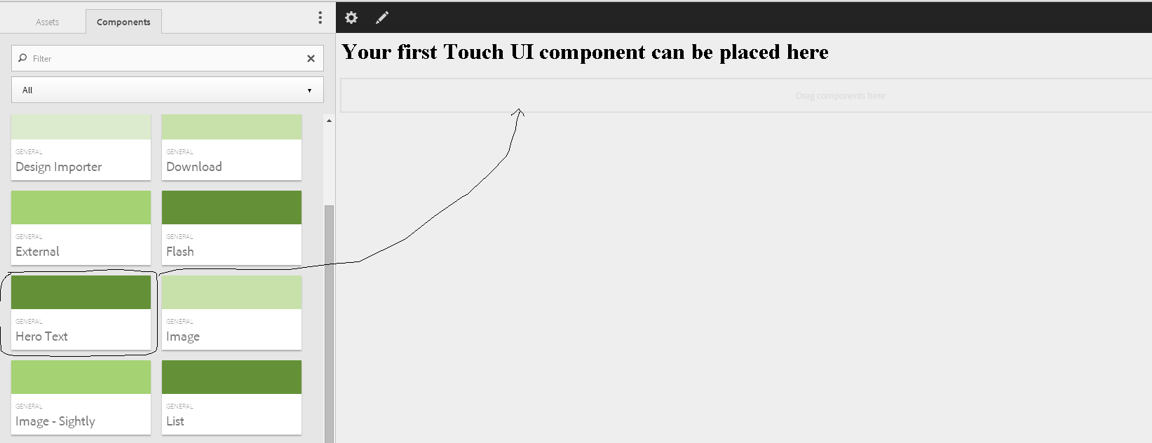 Creating Your First Adobe Experience Manager Touch Ui Component All Electronic Illustration On This Page And Following Pages You Can Drag The From Side Rail Onto An Aem As Shown In