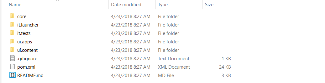 list of files generate from maven archetype