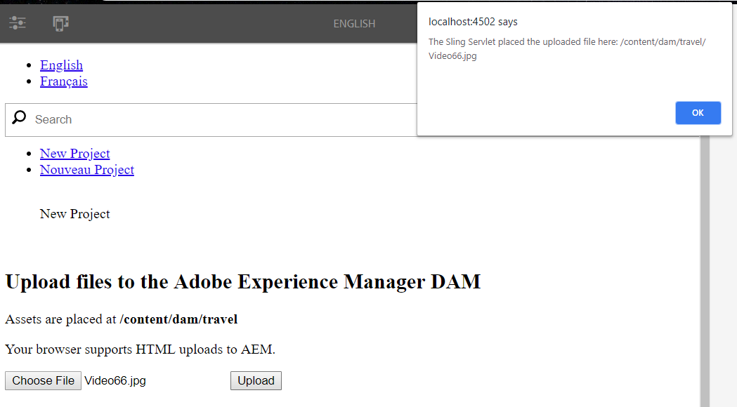 Uploading files to Adobe Experience Manager 6 4 DAM using Asset