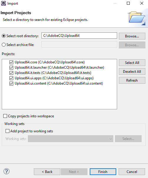 Uploading files to Adobe Experience Manager 6 4 DAM using