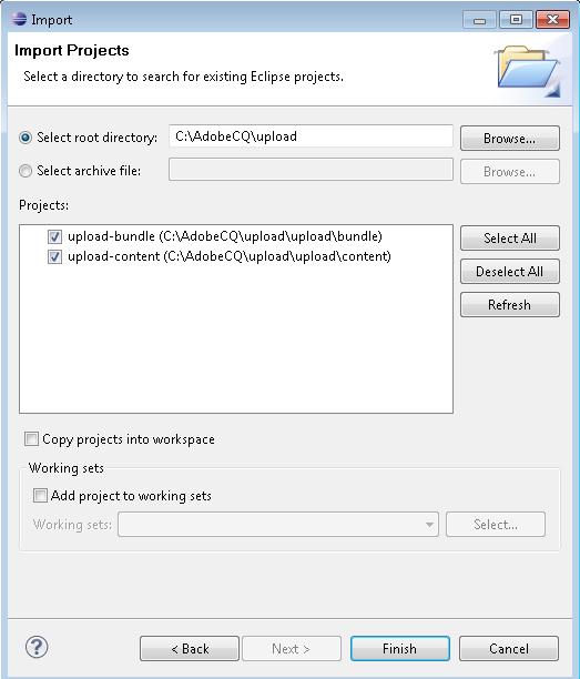 Uploading files to Adobe Experience Manager DAM using AssetManager API