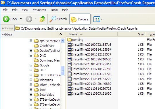 Crash reports in Windows Explorer