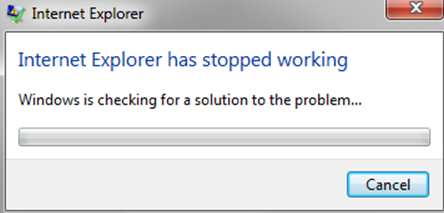 Internet Explorer has stopped working window
