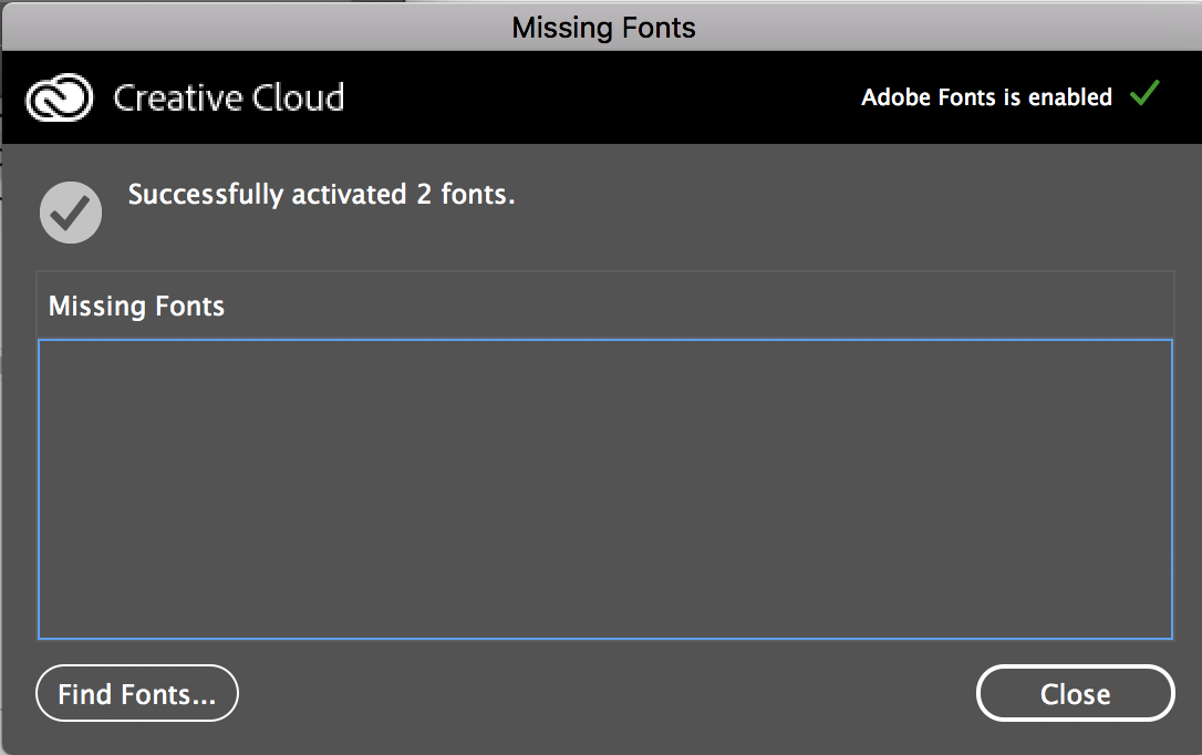 Successful font activation window in InDesign