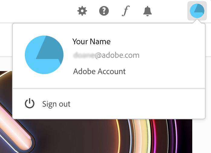 Account information in Creative Cloud