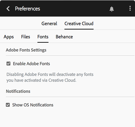 Configuration d'activation des polices dans Creative Cloud