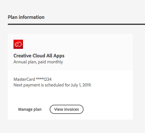 Creative Cloud subscription information on the Adobe Account page.