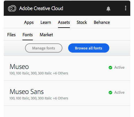 Active fonts are listed in the Creative Cloud desktop application