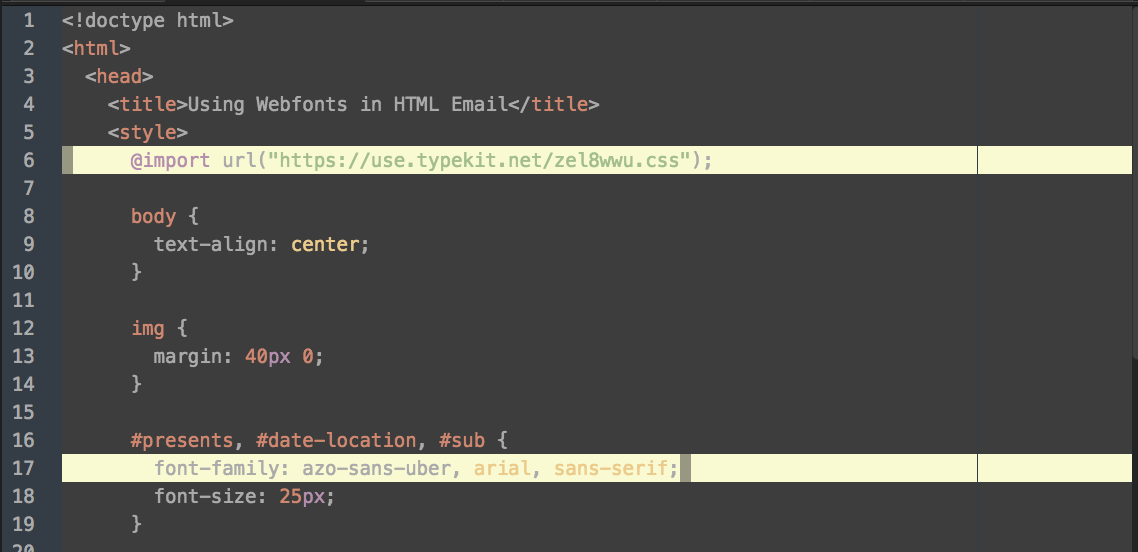 The @import embed code used in HTML email
