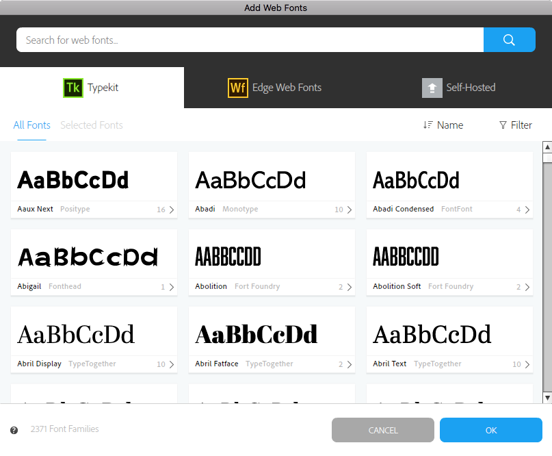 Web Fonts window in Muse displaying Typekit library