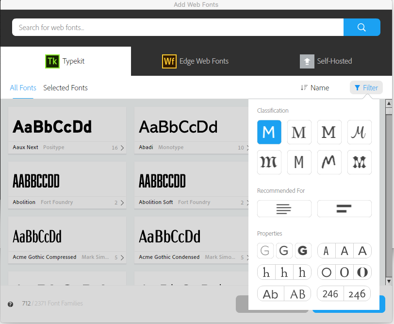 Filter controls in the Web Fonts window in Muse