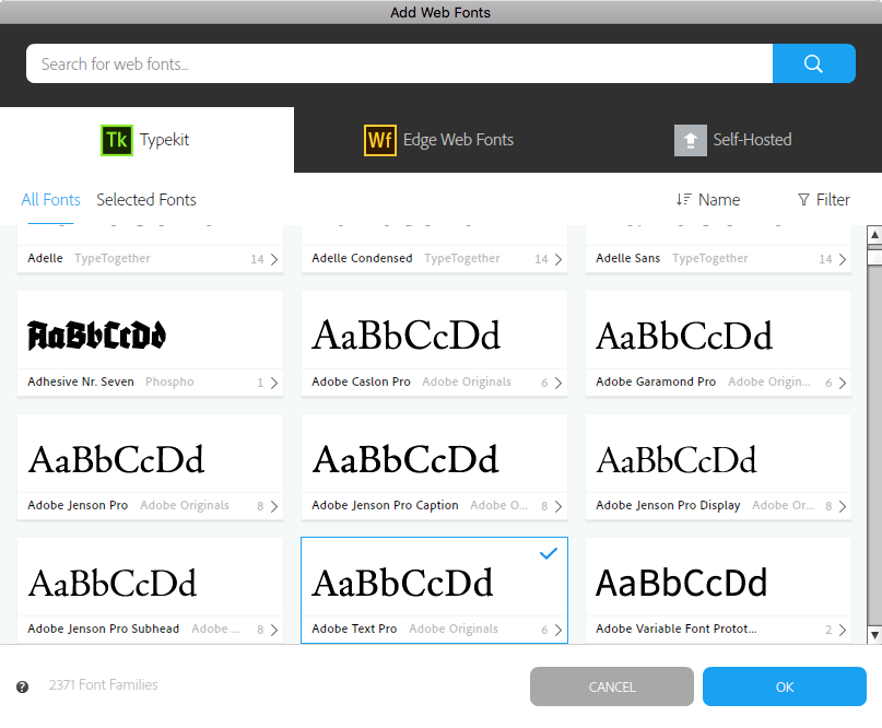Font selection in the Web Fonts window in Muse