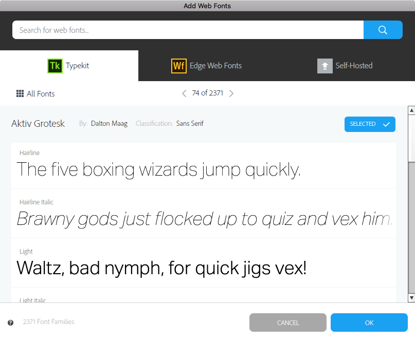 Style detail view in the Web Fonts window in Muse