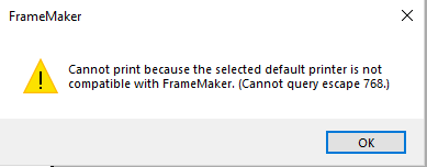 FrameMaker cannot generate PDF after Windows 10 April update