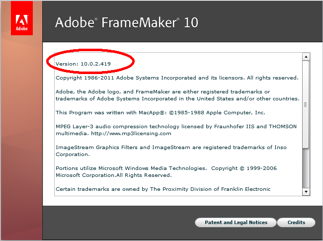 FrameMaker 10 Version