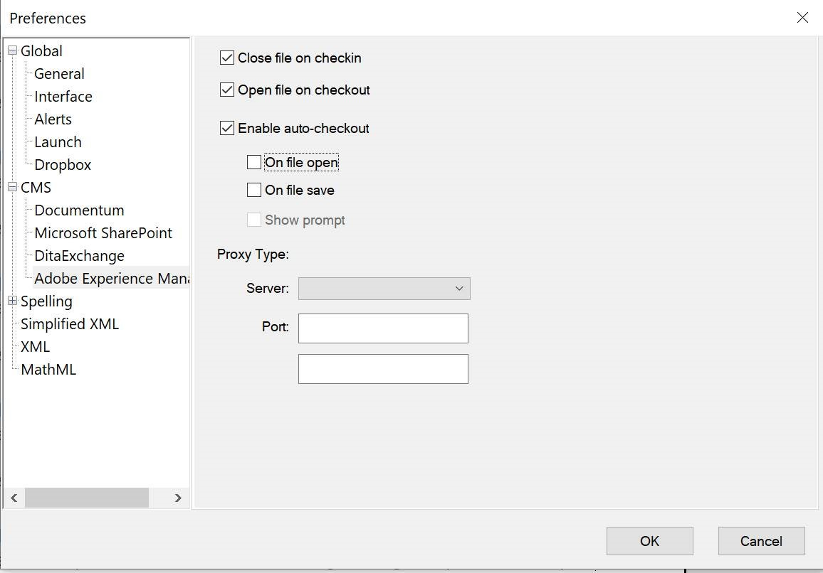 Adobe Experience Manager settings in the Preferences dialog