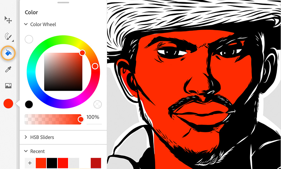 Color palette shows red is selected, the same red fills the man's face in the digital painting