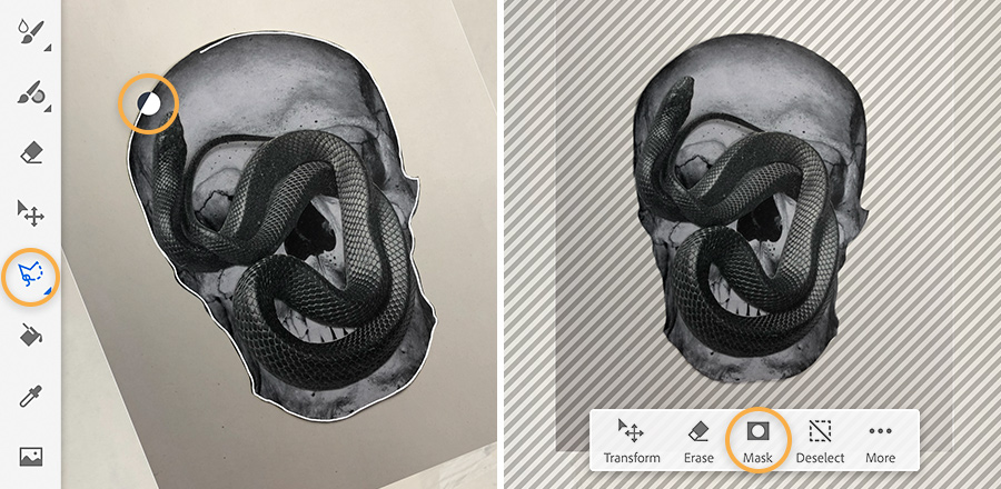 Left: skull is rotated and almost selected entirely by the Lasso tool; Right: mask hides original background.
