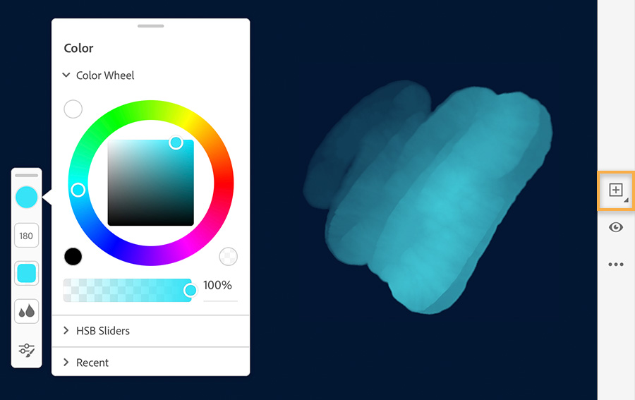 Color wheel on left shows cyan selected, digital watercolor brush strokes on the right