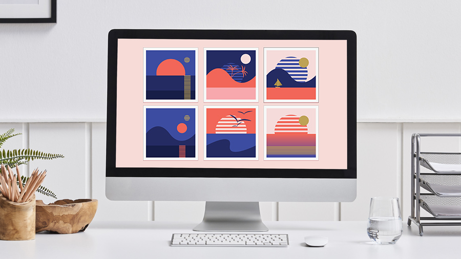 Colorful postcard imagery in an Illustrator document