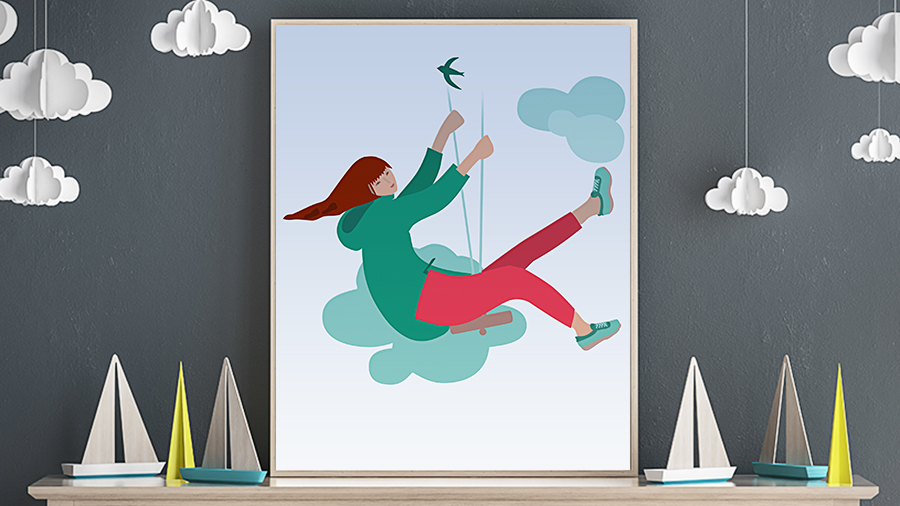 Framed art print of a girl swinging sits on a mantle, surrounded by sailboats and cloud decorations