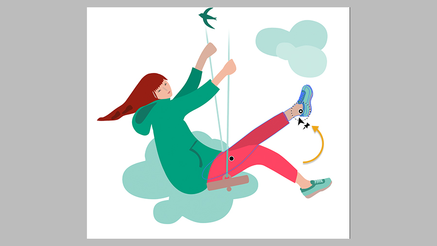 Image of girl on a swing with points selected on one hip and one ankle indicating area of movement