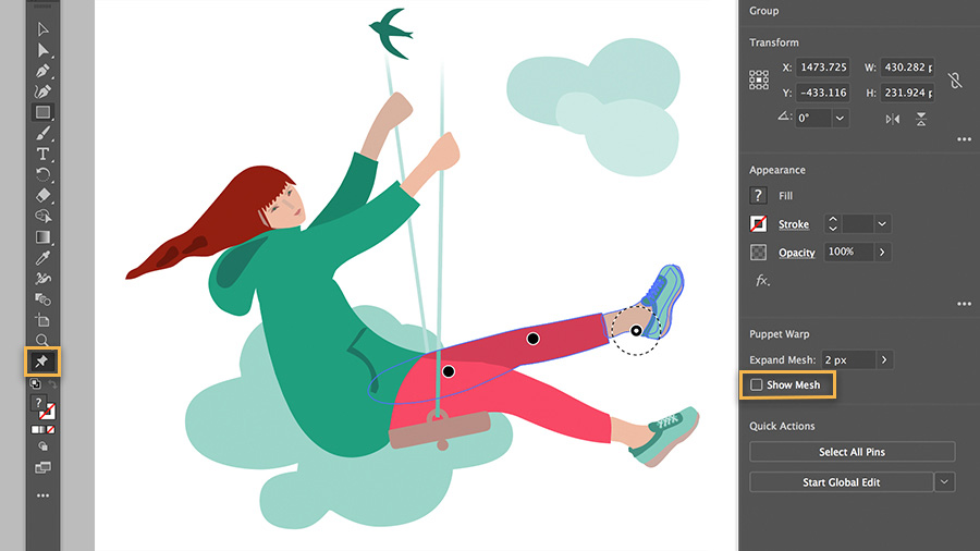 Image in progress of girl on swing, with Show Mesh highlighted in the tool panel
