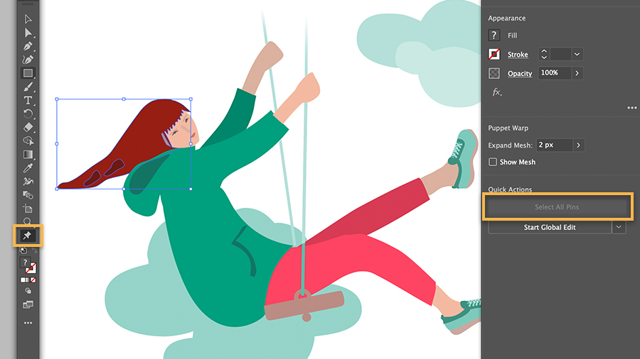Image of girl on a swing with a selection area around her head, Select All Pins is highlighted in tool options