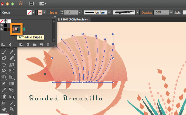 Changing the color of the armadillo stripes