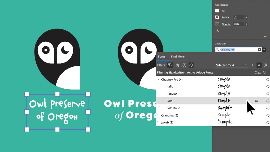 "A text box that says ""Owl Preserve of Oregon"" is selected, the Character panel is open showing Font selections"