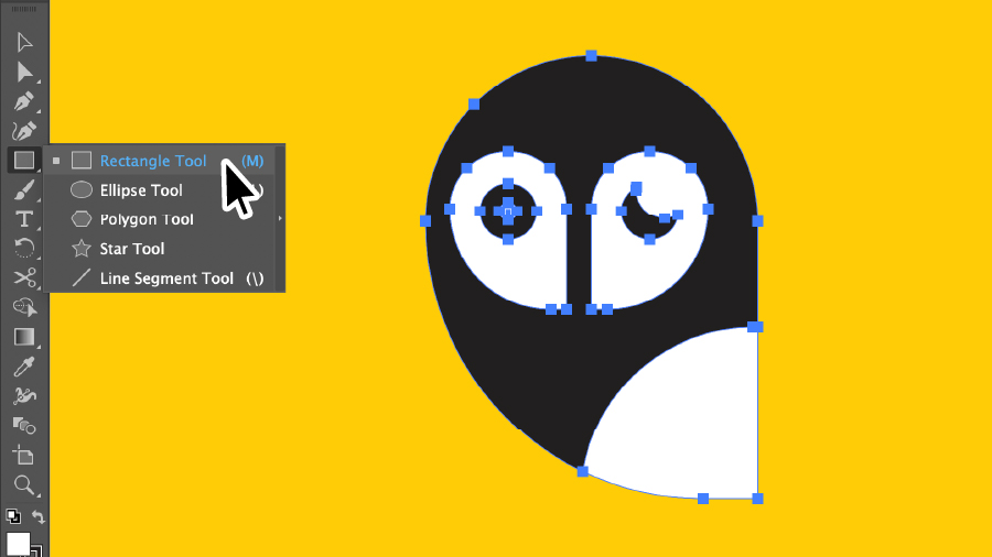 Rectangle Tool selected in the tool bar, a vector owl graphic is shown in the Illustrator workspace with all points selected