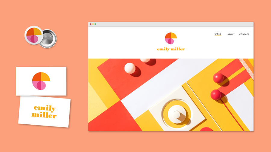Pin with logo, business card, and web page all showing the same design on an orange background