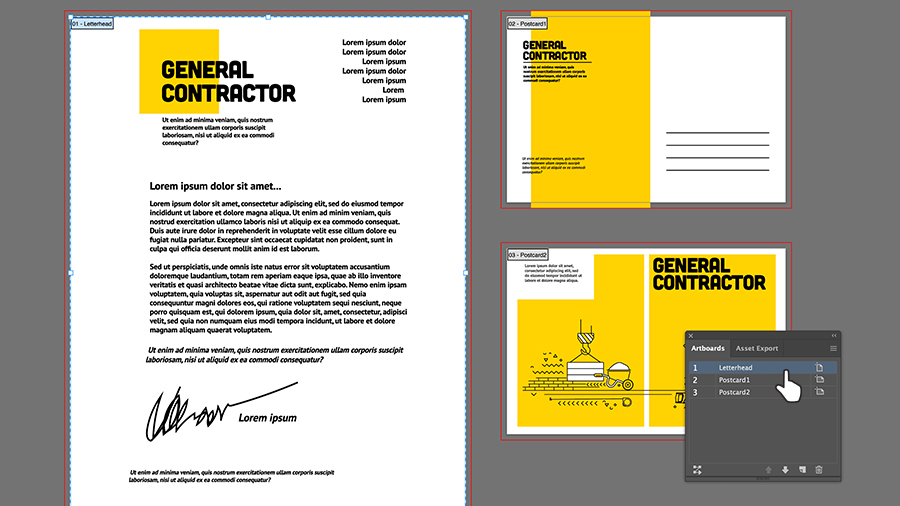 Three artboards showing letterhead and a postcard front and back with the same design