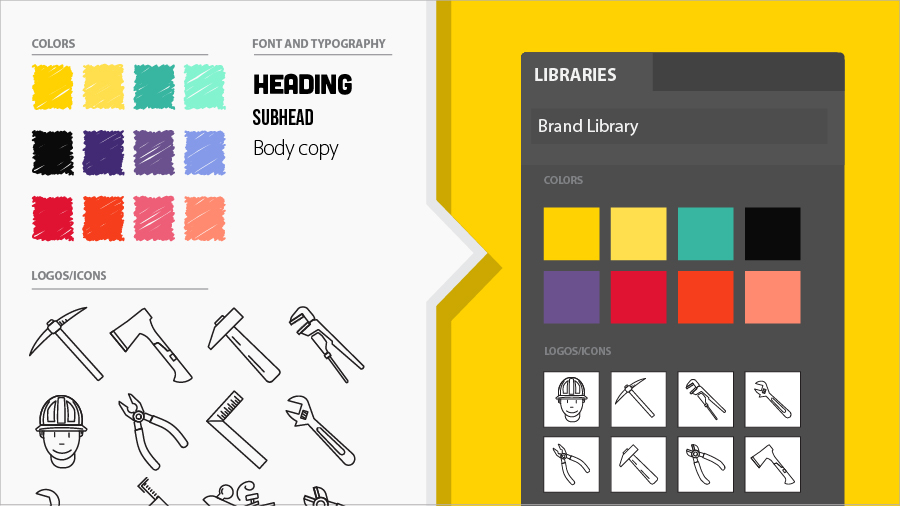 Image showing color swatches, clip art, and fonts in a shared assets library