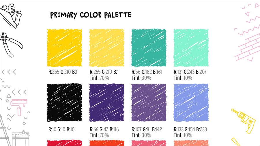 Primary color palette with multiple swatches showing the color breakdown