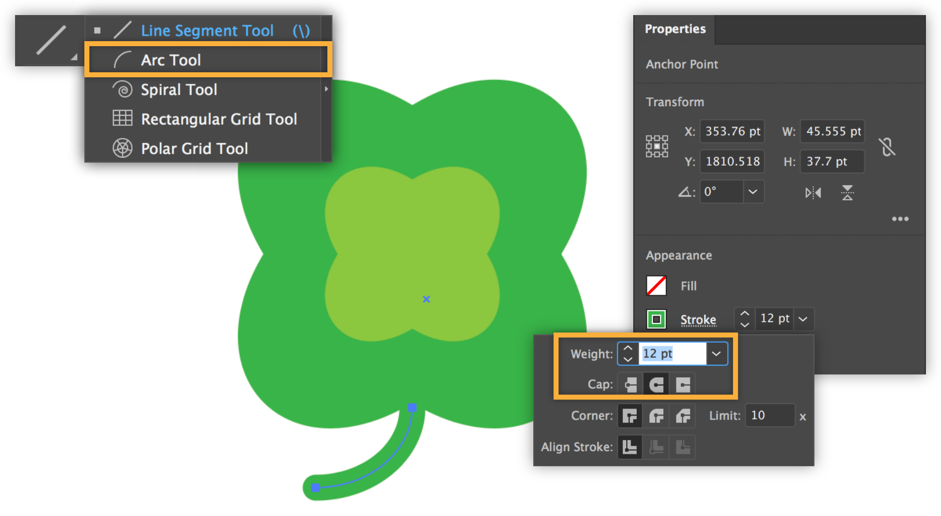 Arc tool Illustrator