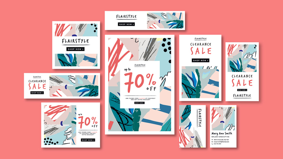 Multiple versions of a sale flyer for Flairstyle on a peach colored background