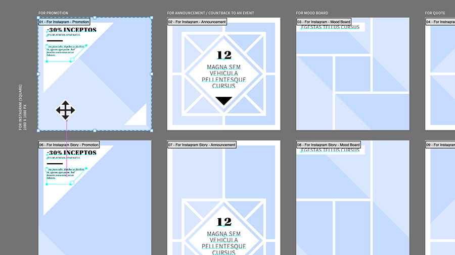 Artboard in Illustrator showing six versions of a promotional collateral design