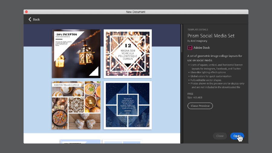 New Document window in Illustrator showing template options for Prism Social Media Set in Adobe Stock