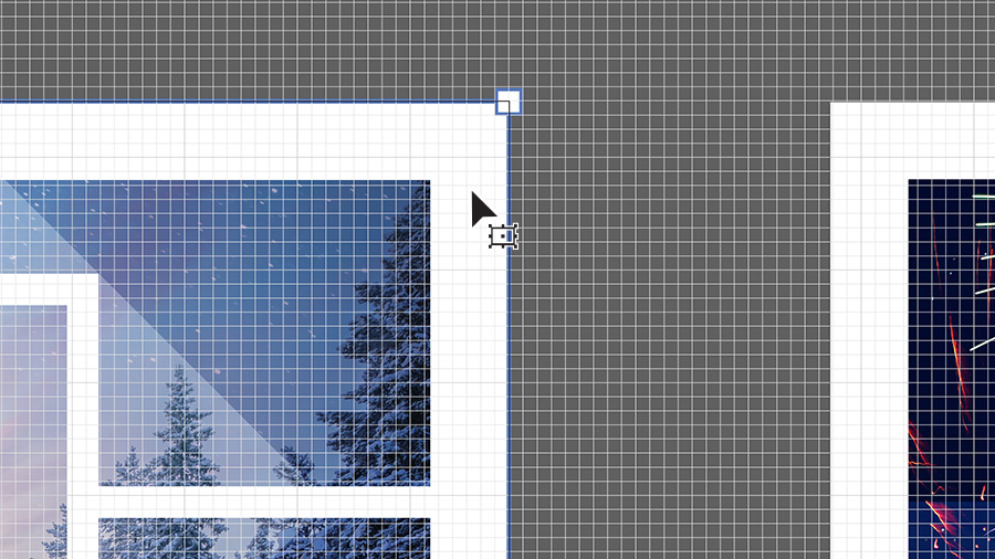 An artboard in Illustrator with a grid overlay showing a graphic being moved to snap to the grid