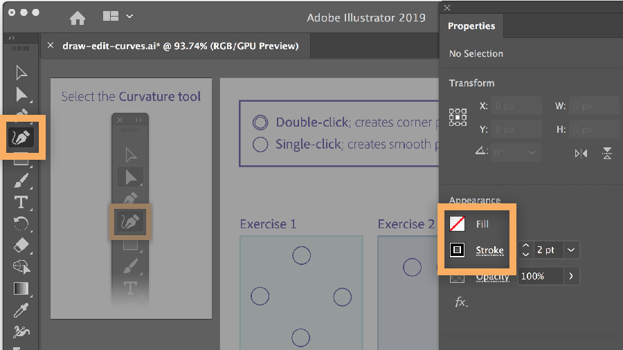 Selecting the Curvature tool