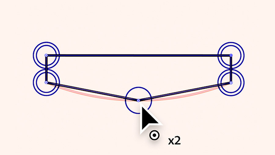 Using the Curvature tool to convert a corner into a curve