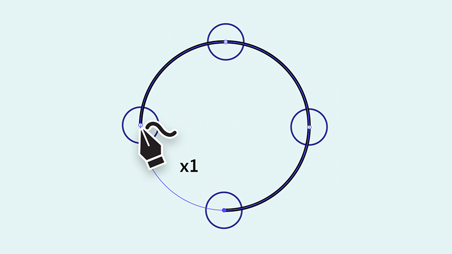 Clicking once in the center of each circular guide to make a perfect circle