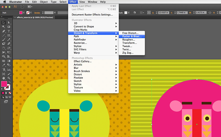 Quickly manipulate shapes with effects | Adobe Illustrator tutorials